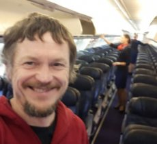 Travel article about Lithuanian man the only passsenger on 189-seat Boeing